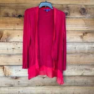Apt. 9 flowy red cardigan with chiffon hem